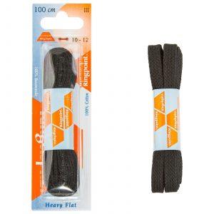 Ringpoint Kengännauhat Musta Litteä 100cm